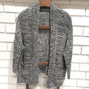 Zara Knit Black and White Marled Cocoon Cardigan